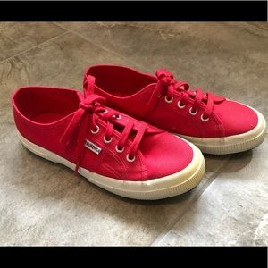 Superga red shoes in 37 1/2 VGU condition!